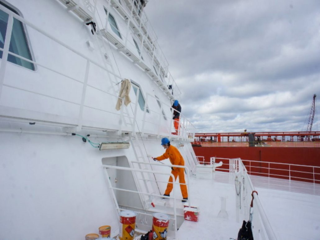 M S Nordlink Painting The Front Of The Superstructure